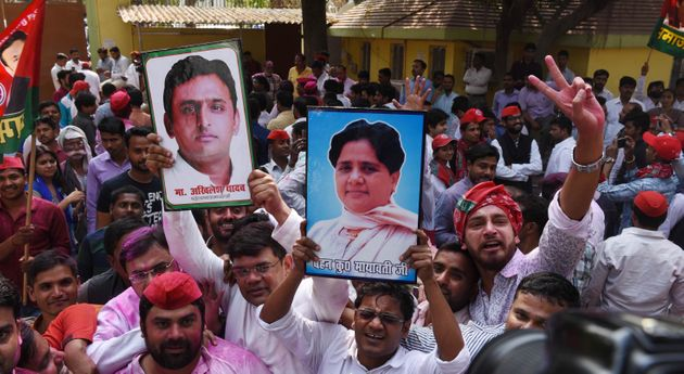 Samajwadi Party and BSP workers celebrating their party's victory in Gorakhpur and Phulpur Lok Sabha...