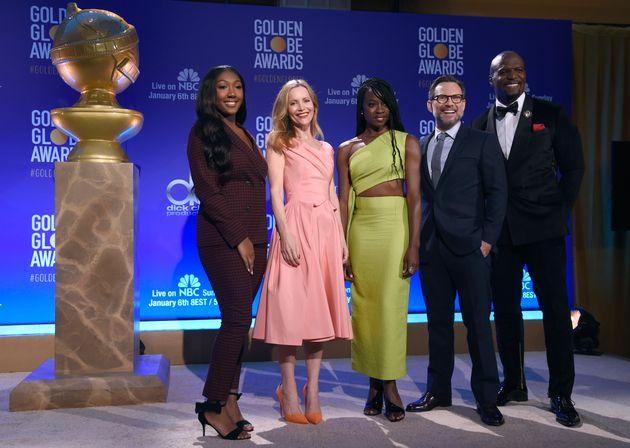 Golden Globe Ambassador Isan Elba, daughter of actor Idris Elba, from left, Leslie Mann, Danai Gurira,...