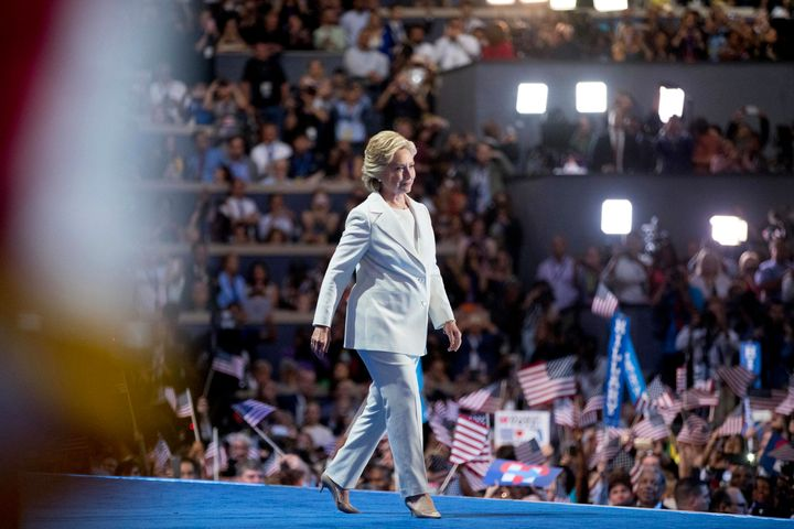 Hillary Clinton takes the stage at the Democratic National Convention in Philadelphia on July 28, 2016.