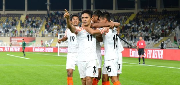 Sunil Chhetri after striking a goal at the AFC Asian Cup