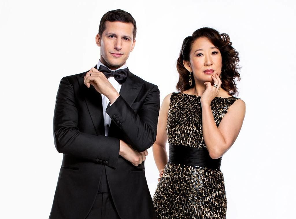 Andy Samberg and Sandra Oh strike a pose in their official Golden Globes