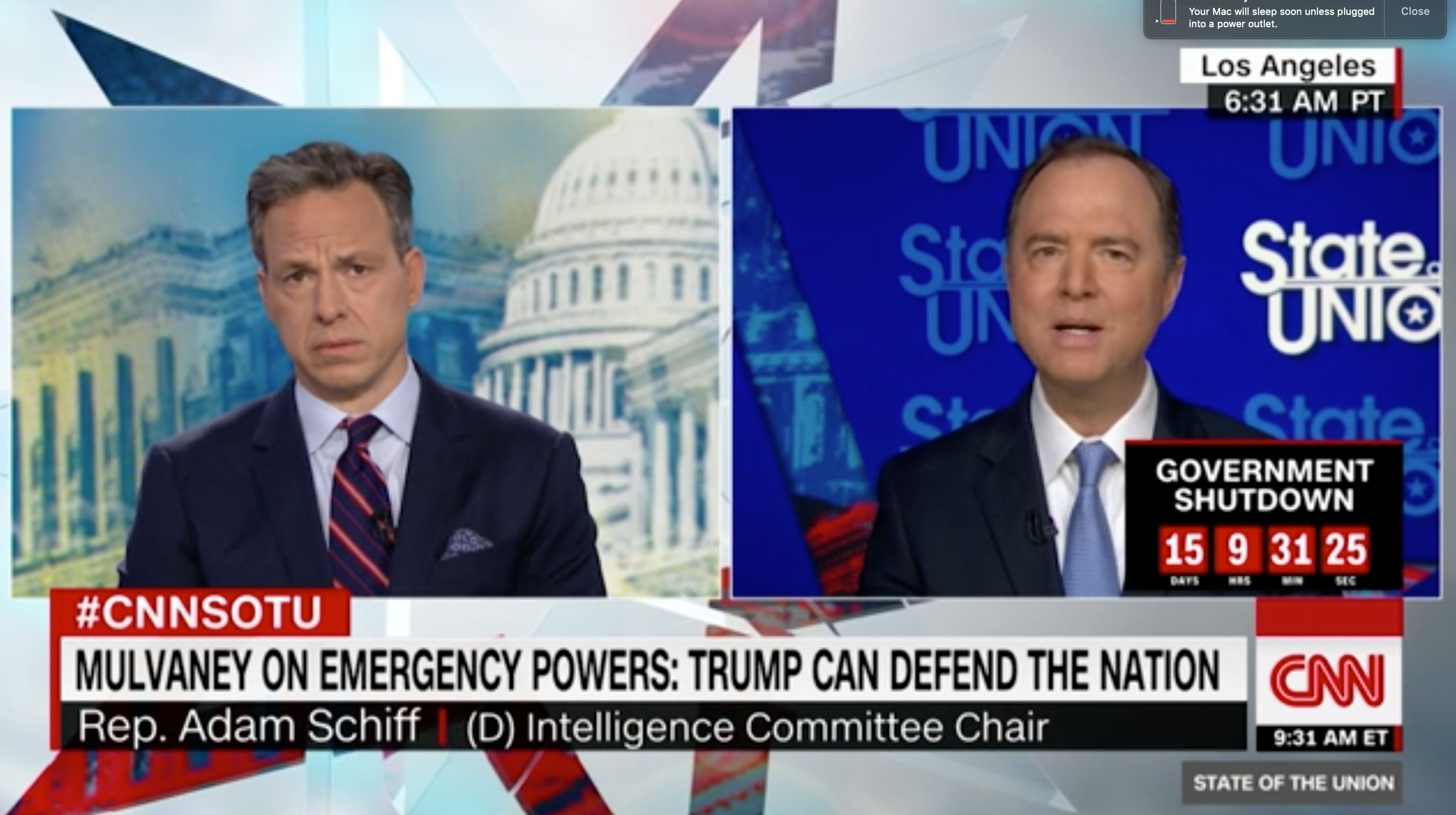 Rep. Adam Schiff says the president can't declare a state of emergency to fund the border wall.