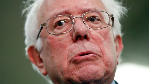 Sen. Bernie Sanders, I-Vt., speaks to members of the media after leaving a closed door meeting about Saudi Arabia, Wednesday, Nov. 28, 2018, on Capitol Hill in Washington. (AP Photo/Pablo Martinez Monsivais)
