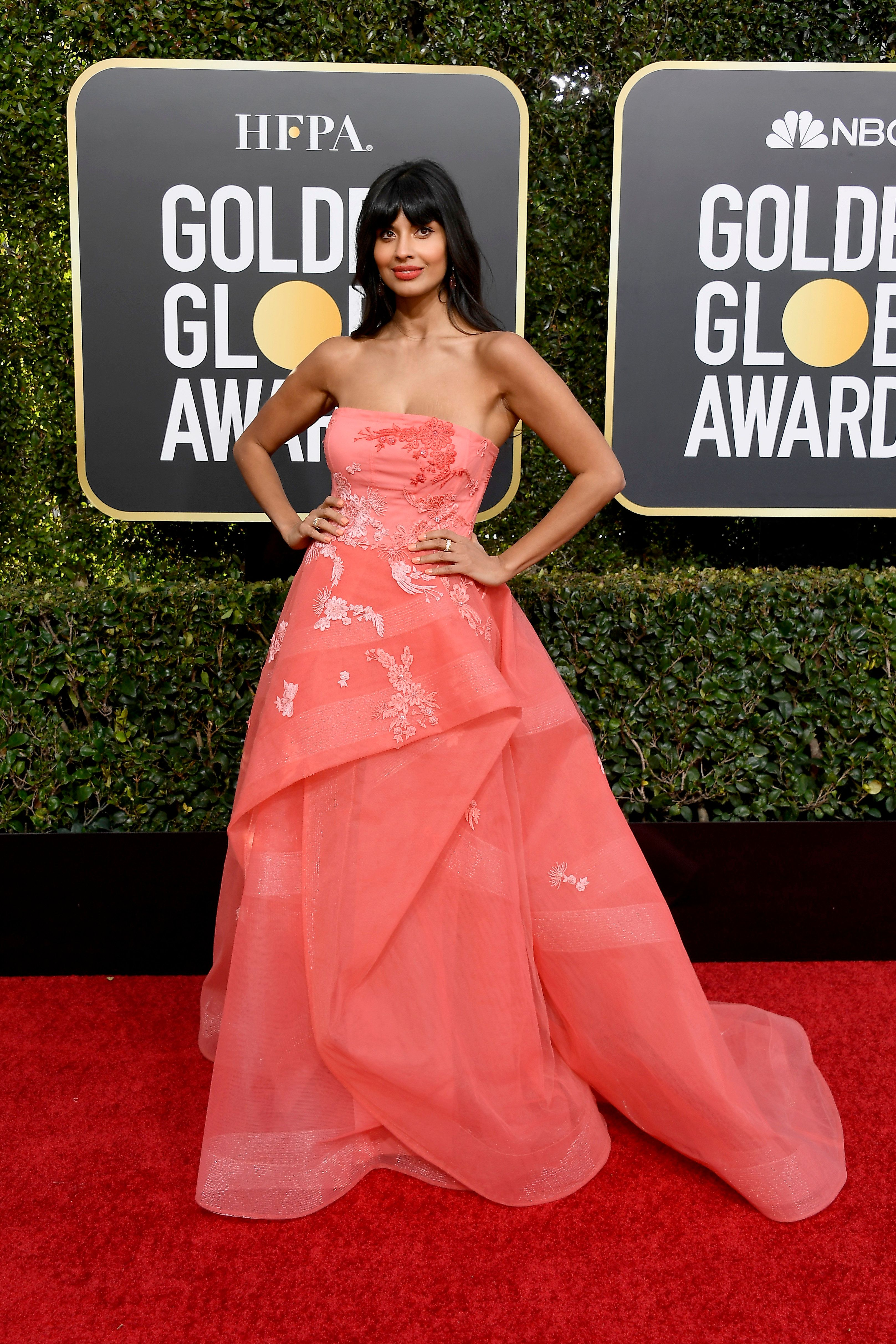 BEVERLY HILLS, CA - JANUARY 06:  76th ANNUAL GOLDEN GLOBE AWARDS -- Pictured: Jameela Jamil arrives to the 76th Annual Golden Globe Awards held at the Beverly Hilton Hotel on January 6, 2019. --  (Photo by Kevork Djansezian/NBC/NBCU Photo Bank)