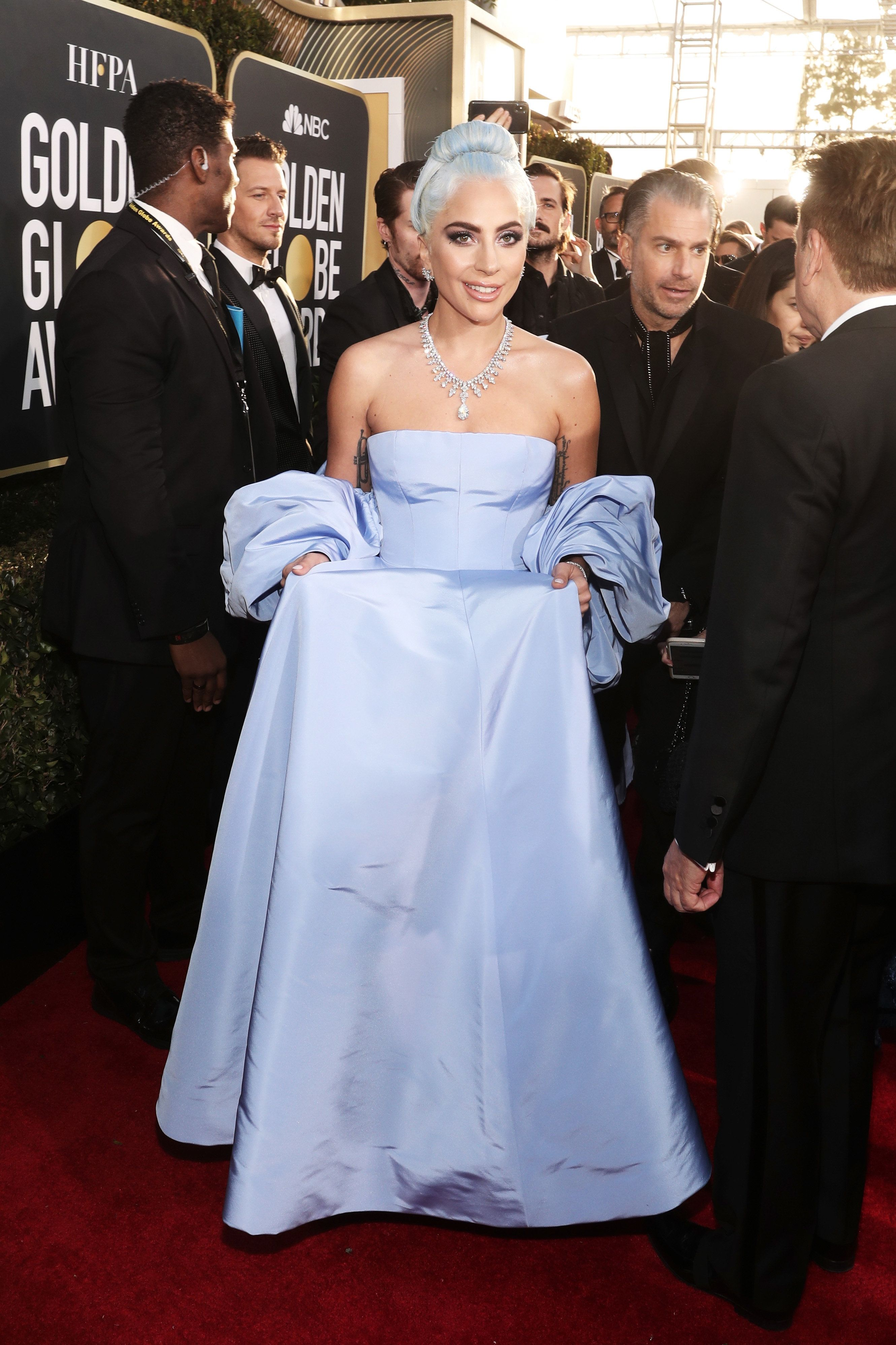 BEVERLY HILLS, CA - JANUARY 06:  76th ANNUAL GOLDEN GLOBE AWARDS -- Pictured: Lady Gaga arrives to the 76th Annual Golden Globe Awards held at the Beverly Hilton Hotel on January 6, 2019. --  (Photo by Todd Williamson/NBC/NBCU Photo Bank)