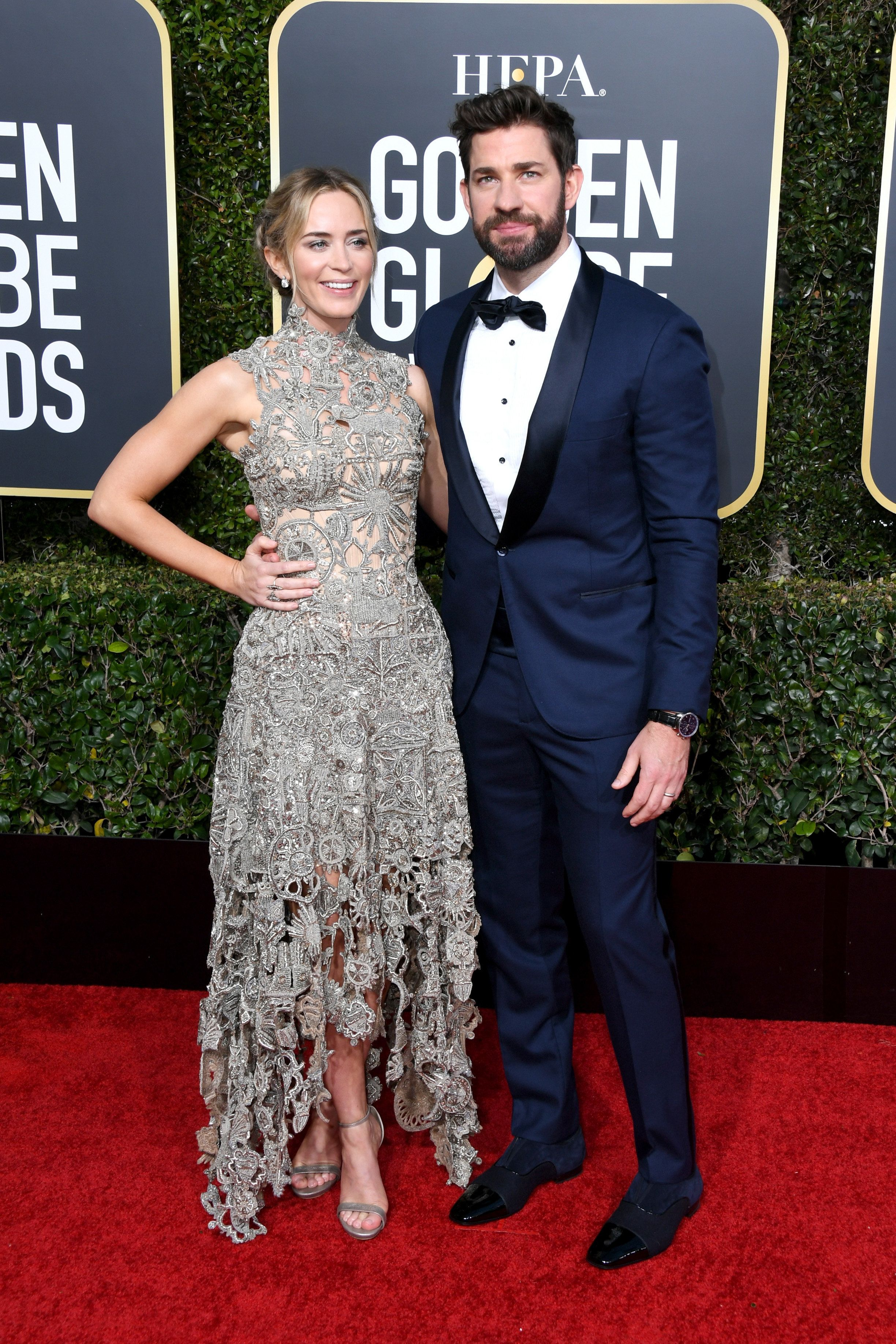BEVERLY HILLS, CA - JANUARY 06:  Emily Blunt and John Krasinski attend the 76th Annual Golden Globe Awards at The Beverly Hilton Hotel on January 6, 2019 in Beverly Hills, California.  (Photo by Jon Kopaloff/Getty Images)