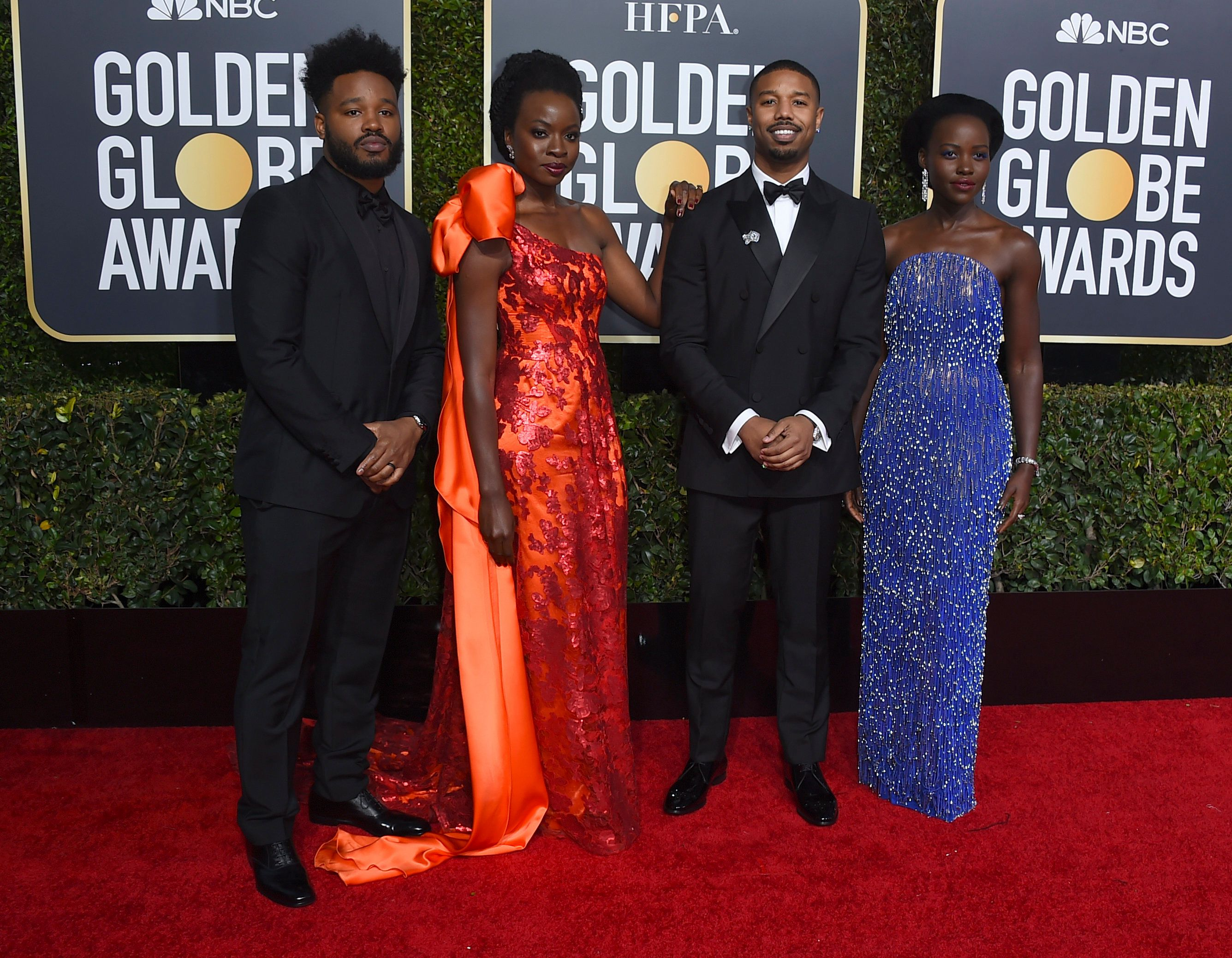 Ryan Coogler, from left, Danai Gurira, Michael B. Jordan and Lupita Nyong'o arrive at the 76th annual Golden Globe Awards at the Beverly Hilton Hotel on Sunday, Jan. 6, 2019, in Beverly Hills, Calif. (Photo by Jordan Strauss/Invision/AP)