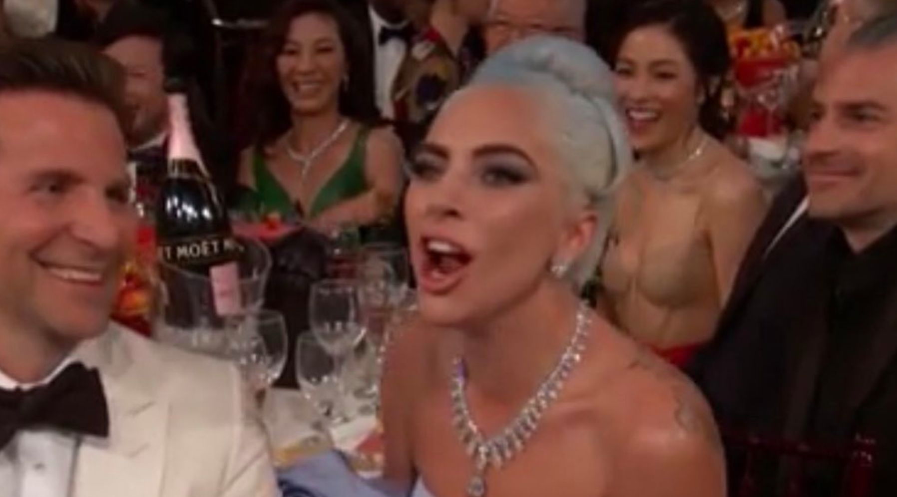 Lady Gaga Shouts 'It's True!' As Golden Globes Hosts Poke Fun At Infamous '100 People'