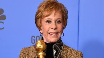 First-ever Golden Globe television special achievement award, named after her, recipient actress Carol Burnett poses with the trophy during the 76th annual Golden Globe Awards on January 6, 2019, at the Beverly Hilton hotel in Beverly Hills, California. (Photo by Mark RALSTON / AFP)        (Photo credit should read MARK RALSTON/AFP/Getty Images)