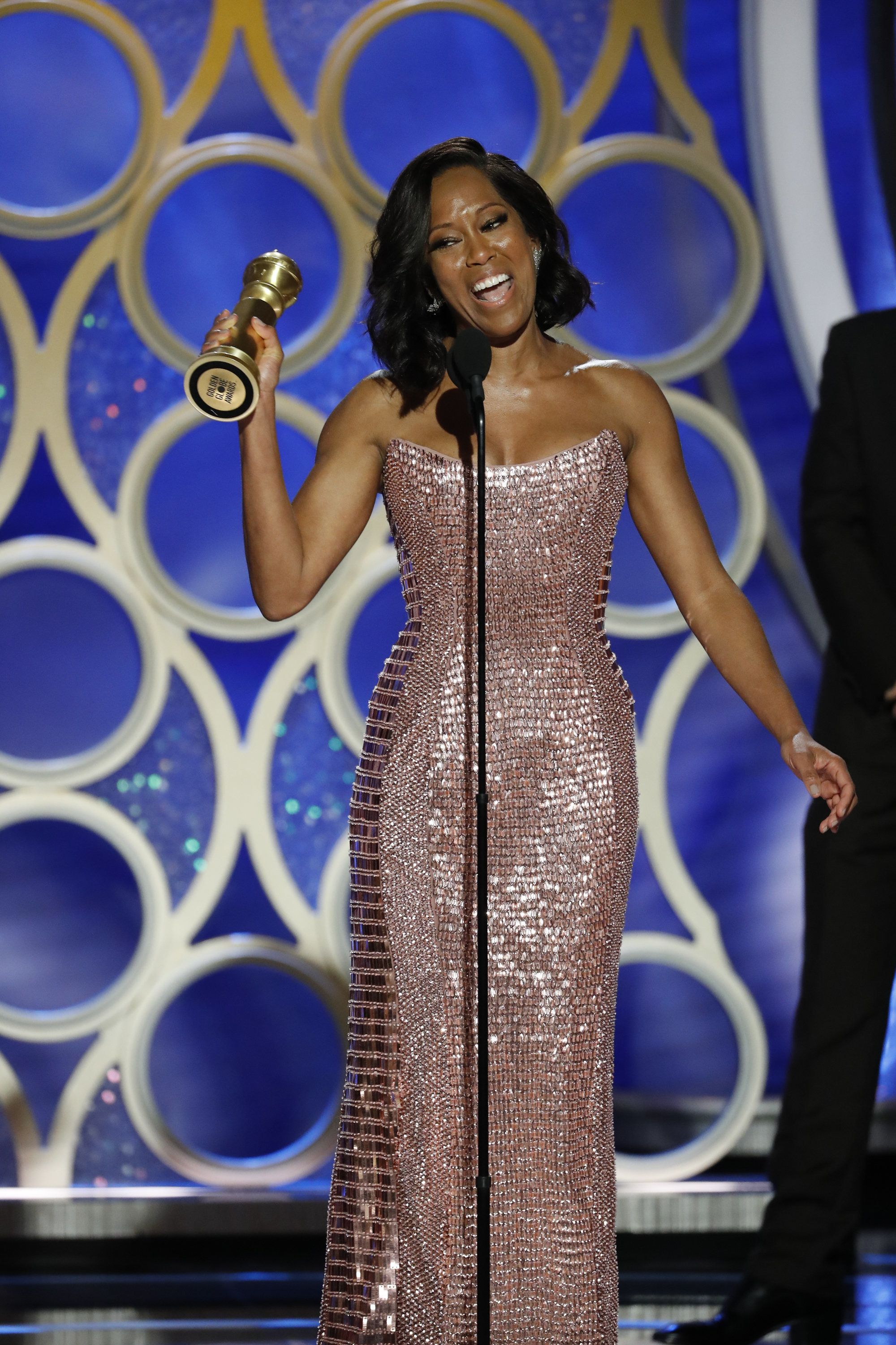 "BEVERLY HILLS, CALIFORNIA - JANUARY 06: In this handout photo provided by NBCUniversal, Regina King from ""If Beale Street Could Talk"" accepts the Best Actress in a Supporting Role in any Motion Picture award onstage during the 76th Annual Golden Globe Awards at The Beverly Hilton Hotel on January 06, 2019 in Beverly Hills, California.  (Photo by Paul Drinkwater/NBCUniversal via Getty Images)"
