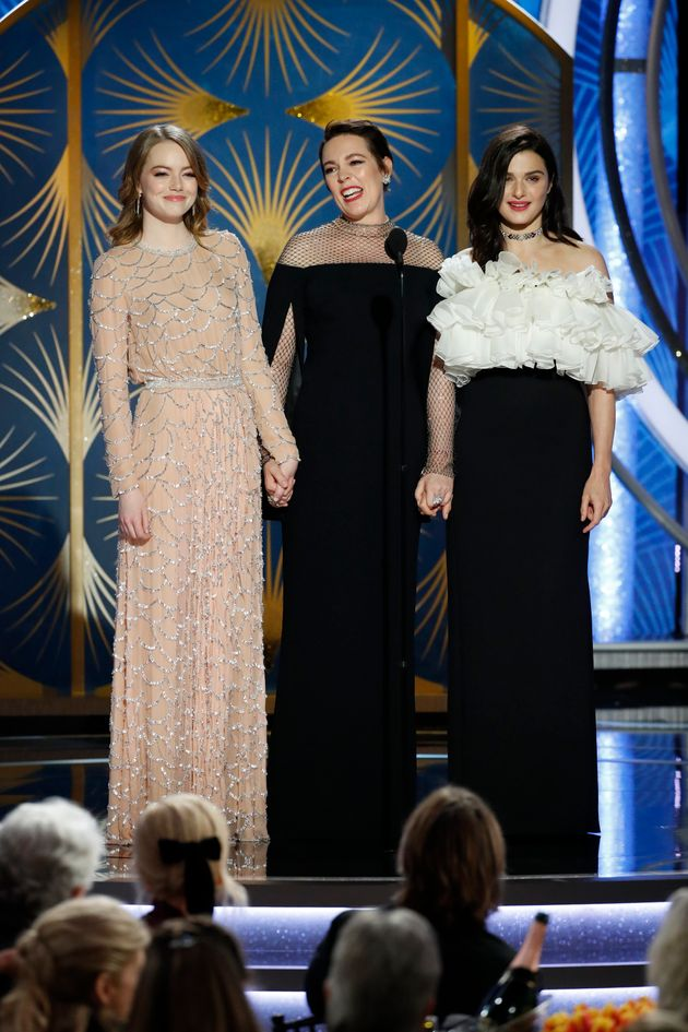 Olivia introduced 'The Favourite' with Rachel Weisz and Emma Stone earlier in the