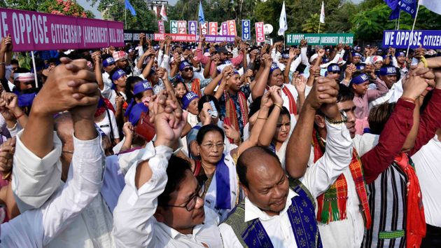 Activists of NESO under the aegis of AASU holding a protest in Assam to register their protest against...