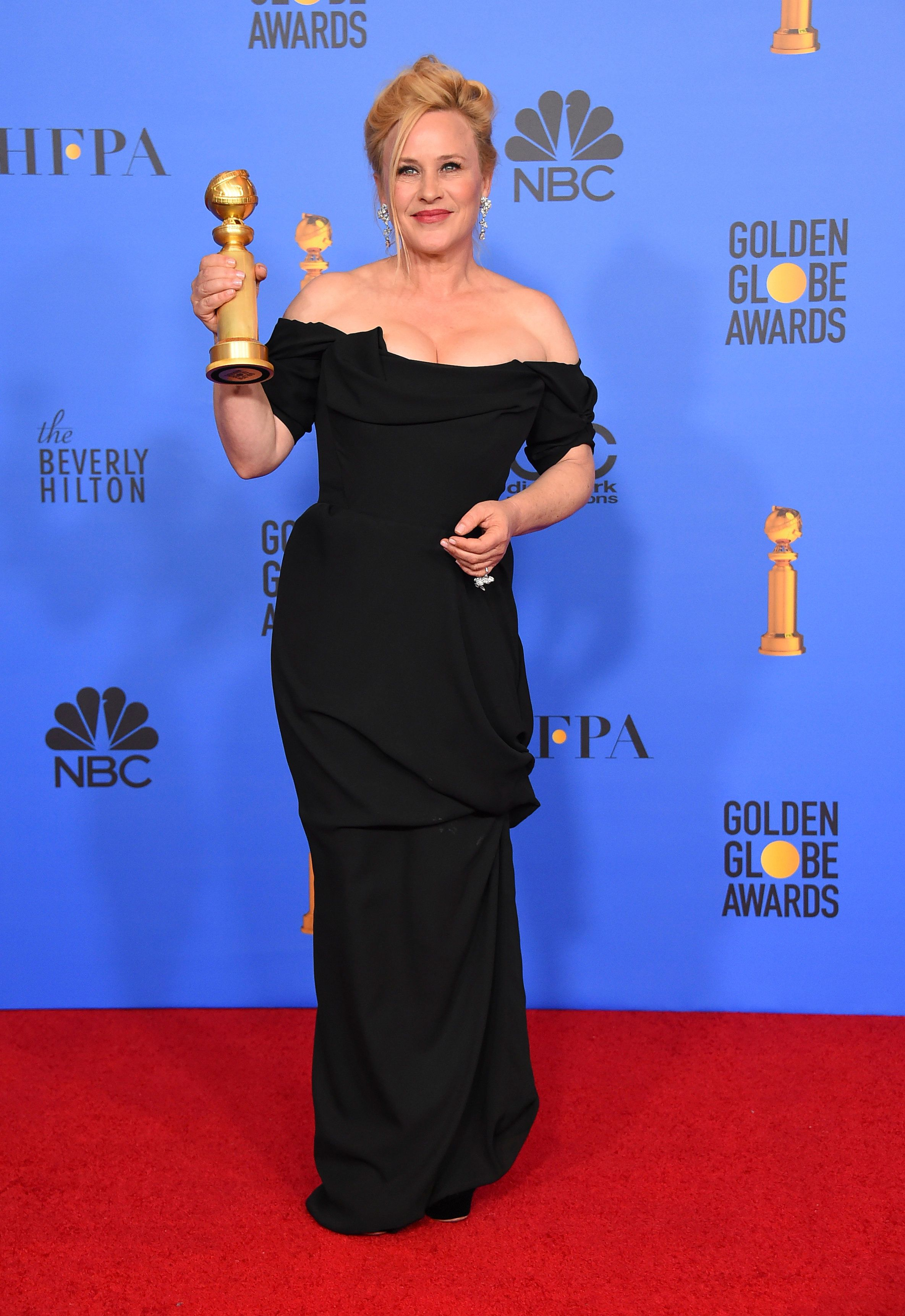 "Patricia Arquette poses in the press room with the award for best performance by an actress in a limited series or a motion picture made for television for ""Escape at Dannemora"" at the 76th annual Golden Globe Awards at the Beverly Hilton Hotel on Sunday, Jan. 6, 2019, in Beverly Hills, Calif. (Photo by Jordan Strauss/Invision/AP)"