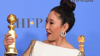 "Sandra Oh poses in the press room with the award for best performance by an actress in a television series, drama for ""Killing Eve"" at the 76th annual Golden Globe Awards at the Beverly Hilton Hotel on Sunday, Jan. 6, 2019, in Beverly Hills, Calif. (Photo by Jordan Strauss/Invision/AP)"