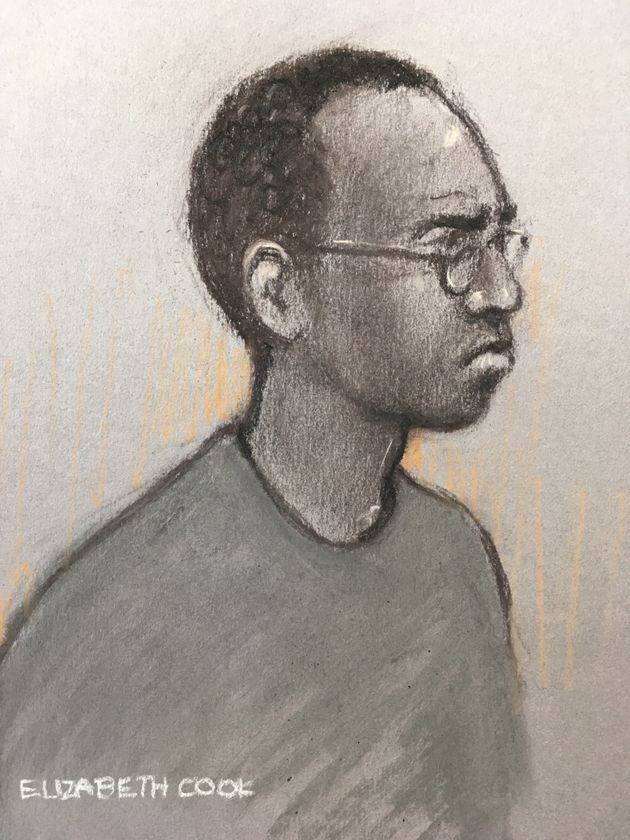 Court artist sketch by Elizabeth Cook of Darren Shane Pencille appearing at Staines Magistrates'...