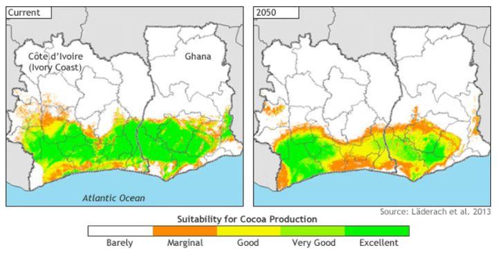 O mapa da esquerda mostra como as terras de Costa do Marfim e Gana estavam boas para o cultivo do cacau em 2013. A previsão da esquerda é para 2050.