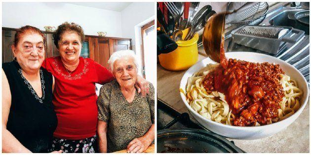 Da esquerda para a direita: Graziella, Franca e Elide se reúnem na cozinha para fazer ragù (à