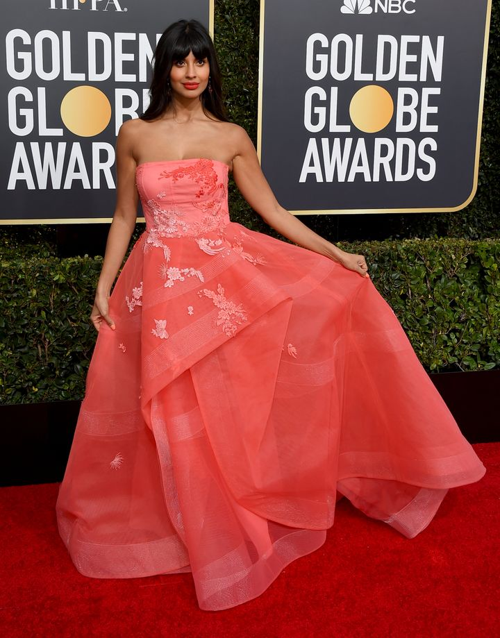 Jameela Jamil arrives at the 76th annual Golden Globe Awards on Sunday, Jan. 6, 2019, in Beverly Hills.