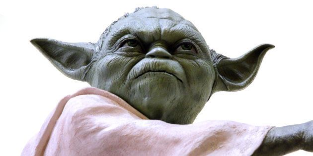 Vancouver, Canada - May 20, 2013: A model of the character Yoda, from the Star Wars Film Franchise, against...