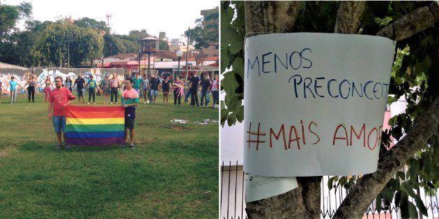 Apesar do feriado de Páscoa, mais de 300 pessoas participaram do ato pacífico, que contou com cartazes...