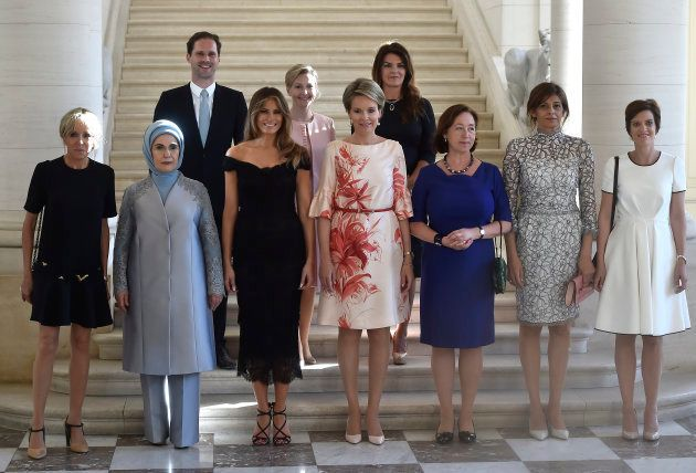 France's first lady Brigitte Trogneux, Turkey's first lady Emine Erdogan, Luxembourg's Gauthier Destenay,...