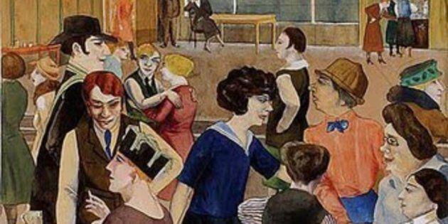 'Damenkneipe,' ou 'Taverna de Mulheres', pintado por Rudolf Schlichter em 1923. Muitas obras do artista...