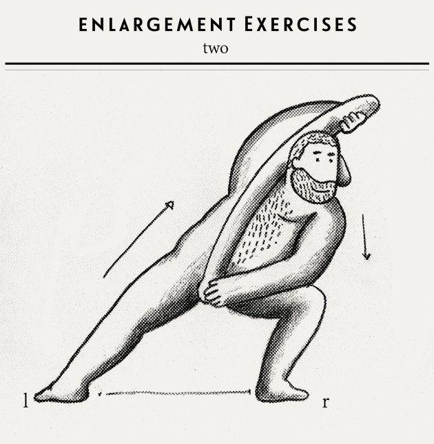 Enlargement exercise. A imagem satiriza os supostos exercícios para o crescimento do