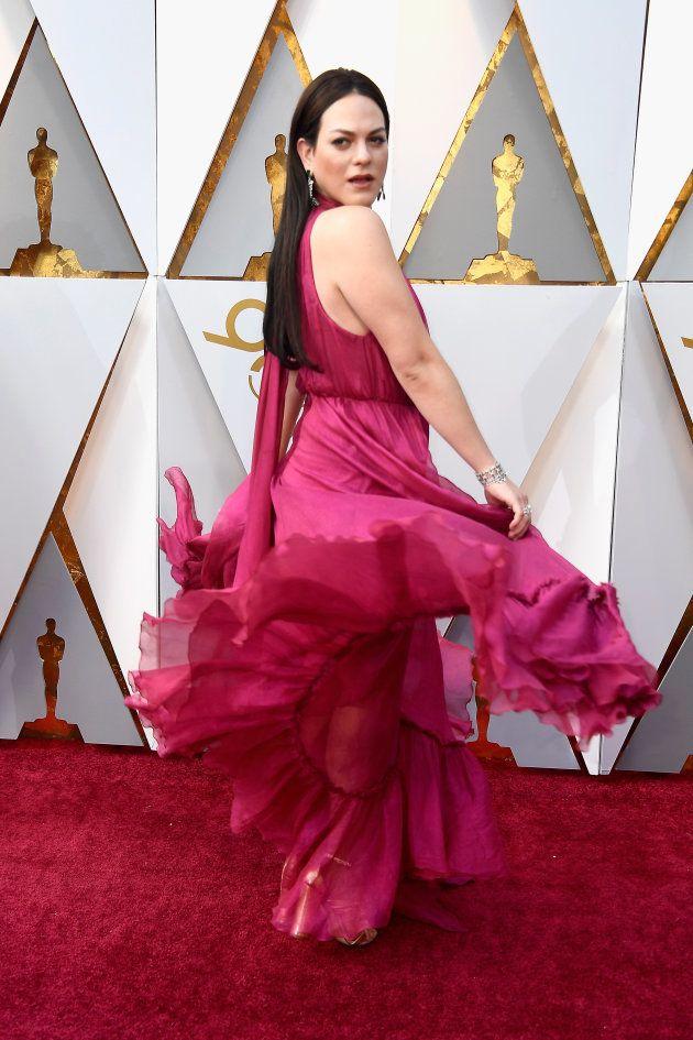 A atriz Daniela Vega no tapete vermelho da 90ª edição do Oscar em Hollywood & Highland Center, em Hollywood,...