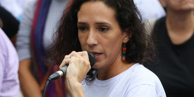 Monica Benicio, esposa de Marielle Franco, discursa durante a 16th caminhada de lésbicas e bissexuais,...
