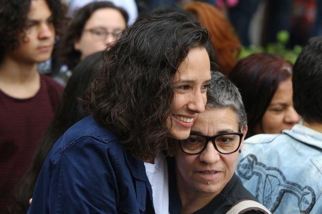 Mônica Benício na Caminhada de Mulheres Lésbicas e Bissexuais de SP, realizada neste sábado