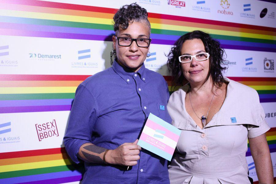 Pri Bertucci ao lado de Júlia Rosemberg, no evento Livres & Iguais, realizado pela ONU, no mês