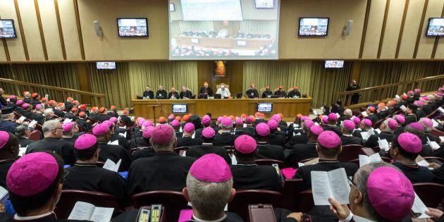 O papa Francisco na sessão de abertura da Assembleia Geral Ordinária do Sínodo dos Bispos sobre a Juventude,...