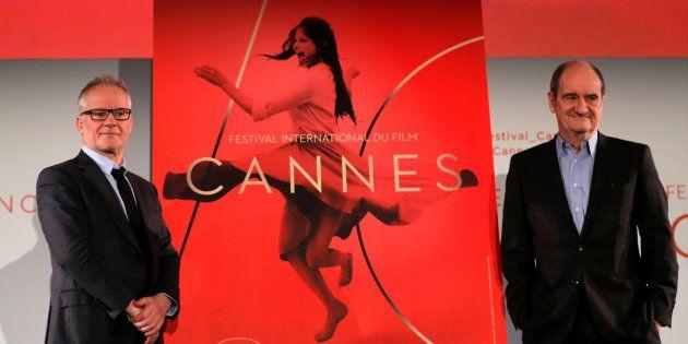 Delegado-geral do festival, Thierry Fremaux (esq.), e presidente do Festival de Cannes, Pierre Lescure...