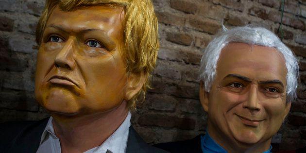 Bonecos de Olinda de Trump e Temer foram destaque no Carnaval de Pernambuco neste