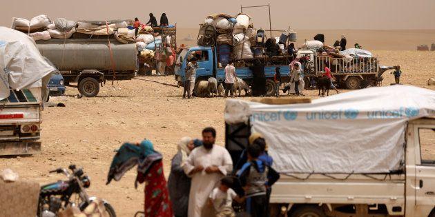 Deslocados sírios na cidade de