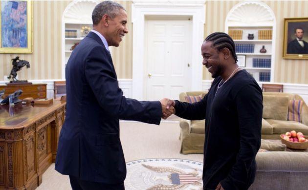 Barack Obama e Kendrick Lamar na Casa