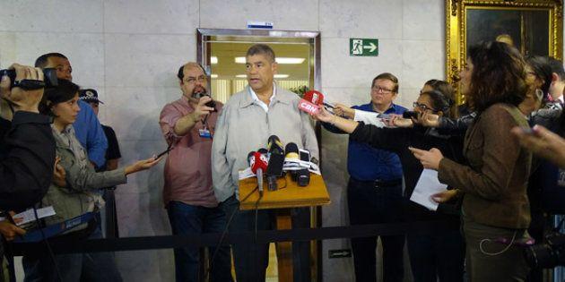 O presidente da Câmara, Milton Leite, participou de coletiva após ocupação da câmara por pessoas que...