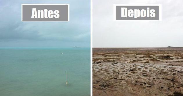 A baixa pressão da água permitiu com que o furacão Irma sugasse a água do infralitoral nas