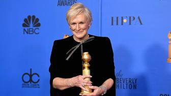 "BEVERLY HILLS, CA - JANUARY 06:  76th ANNUAL GOLDEN GLOBE AWARDS -- Pictured: Glenn Close of ""The Wife"" accepts the Best Actress in a Motion Picture – Drama award at the 76th Annual Golden Globe Awards held at the Beverly Hilton Hotel on January 6, 2019. --  (Photo by Kevork Djansezian/NBC/NBCU Photo Bank)"