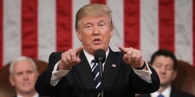 U.S. President Donald Trump delivers his first address to a joint session of Congress from the floor...