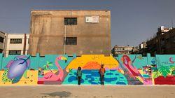 O maior mural de grafite da Síria é obra de artistas brasileiros e crianças