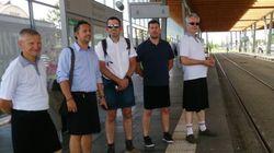 Proibidos de usar shorts, estes trabalhadores resolveram vestir