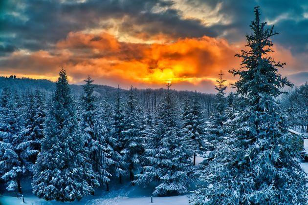 Χιονισμένο ηλιοβασίλεμα...