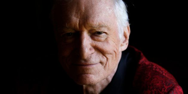 Playboy magazine founder Hugh Hefner poses for a portrait at his Playboy mansion in Los Angeles, California,...