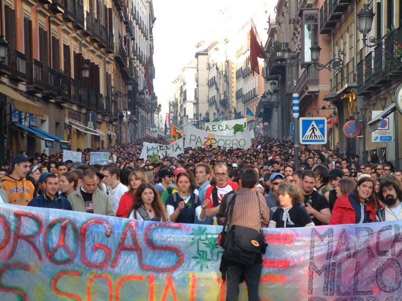 Global Marijuana March in Madrid, Spain in 2004.