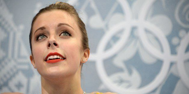 US Ashley Wagner reacts in the kiss and cry zone during the Women's Figure Skating Free Program at the Iceberg Skating Palace