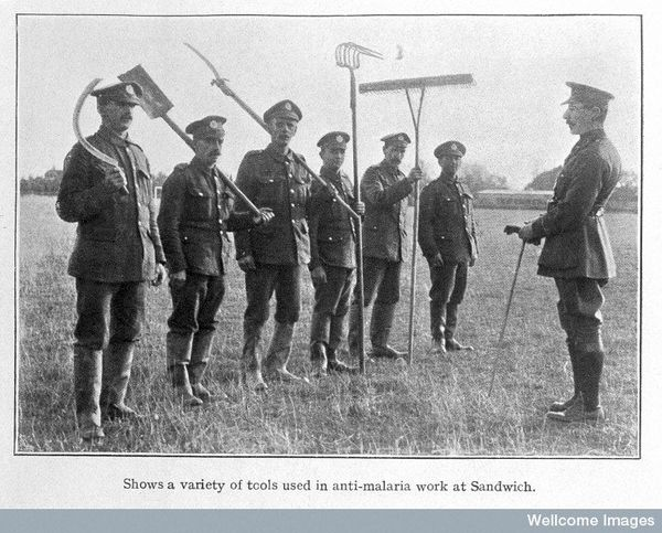 Anti-malaria brigade circa WWI. Credit: Wellcome Library, London.