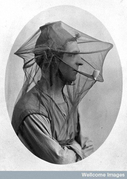 Postcard: mosquito net to be worn as a veil. Early 20th century. Credit: Wellcome Library, London.