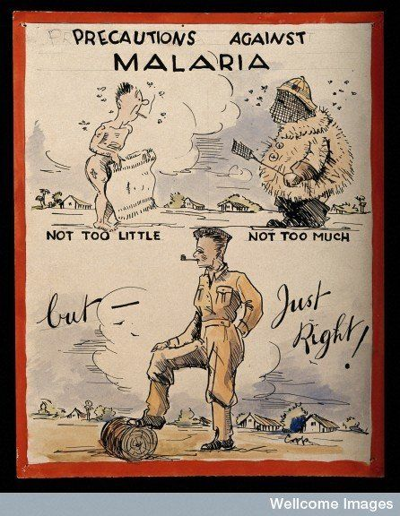 Advice to British soldiers about malaria. Coloured pen drawing by Copp. Credit: Wellcome Library, London.