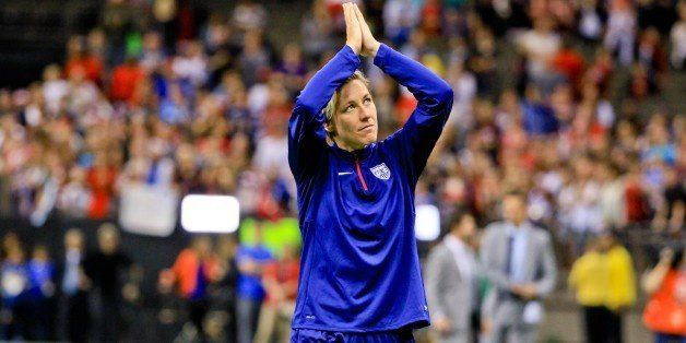 Dec 16, 2015; New Orleans, LA, USA;  United States of America forward Abby Wambach (20) salutes fans as she walks off the fie